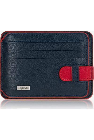Cengiz Pakel Deri Kartlık Lacivert-Kırmızı Cp102404Drl38