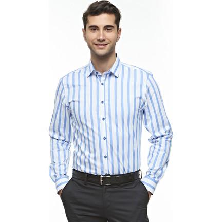 19e31c2ff47 Ottomoda Mavi Beyaz Çizgili Klasik Erkek Gömlek Fiyatı