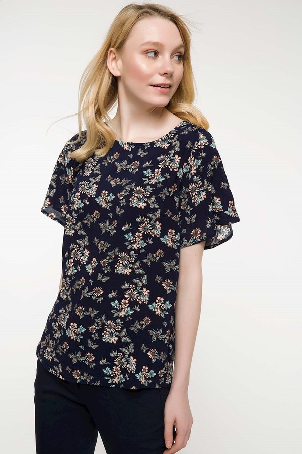 Detailed defacto arms flywheel Floral Patterned Blouse