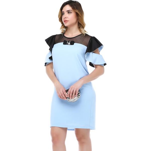 a684a85f0eaf1 B&S Line Robası Dantelli Kol Detaylı Mavi Elbise - 42 Fiyatları ...