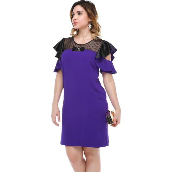 fef358bf860d8 B&S Line Robası Dantelli Kol Detaylı Mor Elbise - 40 Fiyatları ...