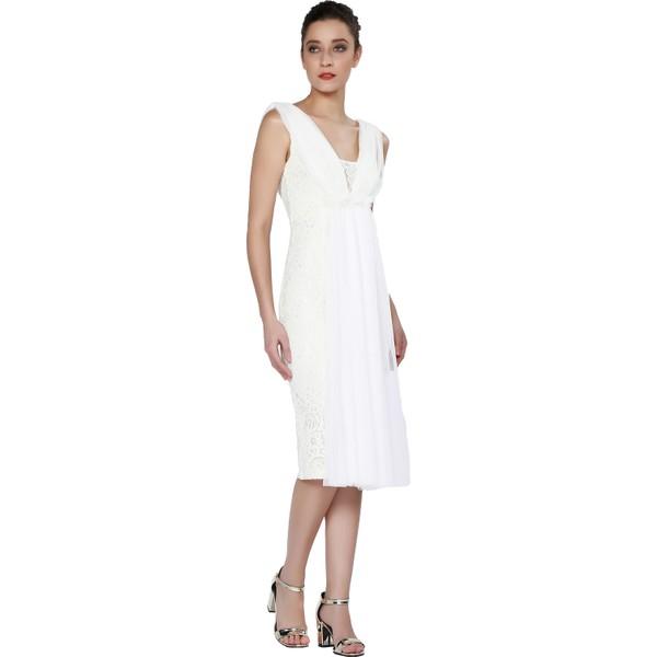 458ee750326a4 Pierre Cardin Ekru Dantel İşlemeli Kısa Abiye Elbise - 34 Fiyatları ...