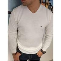 Oksit E. Slim Fit V Yaka Triko Beyaz