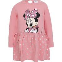 Soobe Disney Minnie Uzun Kol Kız Çocuk Elbise Soft Pembe (1-7 Yaş)