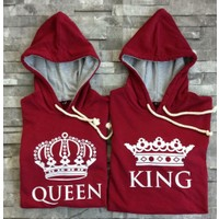 Bonalodi Bordo King Queen Kapüşonlu Sevgili Çift Sweatshirt