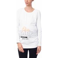 Gör&Sin Baby Baskılı Uzun Kol Hamile T-Shirt Beyaz