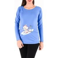 Gör&Sin Kayak Yapan Bebek Baskılı Uzun Kollu Hamile T-Shirt Saks