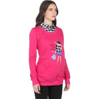 Gör&Sin Hamile Sweet Day Forever Baskılı Sweatshirt Fuşya