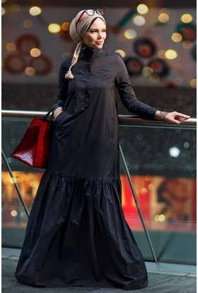 Muslima Wear Oxford Elbise Siyah