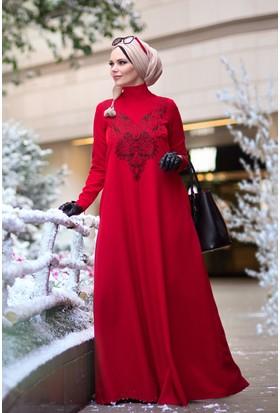 Muslima Wear Diadema Elbise Kırmızı