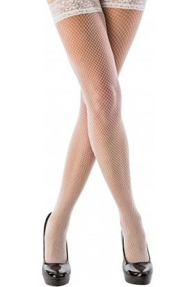 Lady Lingerie Beyaz File Silikonlu Dantelli Jartiyer Çorap