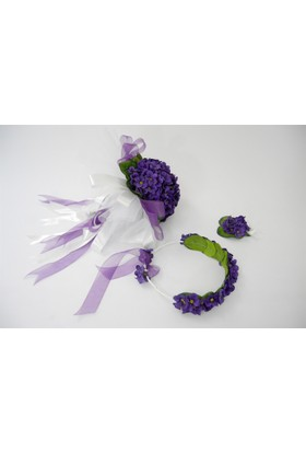 Çeyizci Gelin Buketi Mürdüm Çiçekli Şakayık Gelin Tacı Yaka Çiçeği