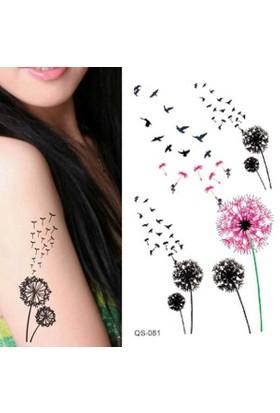 Hane14 Kuşlu Çiçekler Geçici Dövme