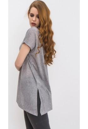 Tiffany&Tomato A3158 Melanj Casual Bluz Kısa Kol
