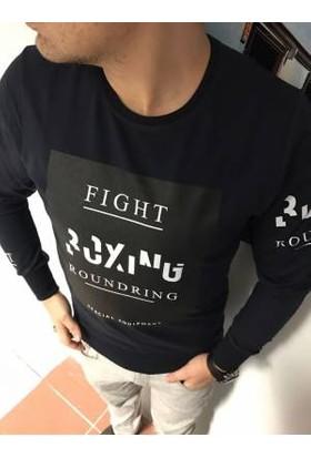 Oksit Fight Baskılı Sweatshirt Lacivert