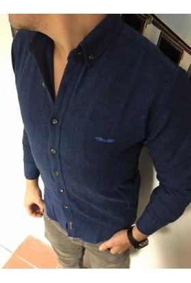 Oksit Balık Sırtı Slim Fit Kaşmir Gömlek Sax Mavi