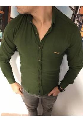 Oksit Gizli Kırçıllı Slim Fit Gömlek Fıstık Yeşili