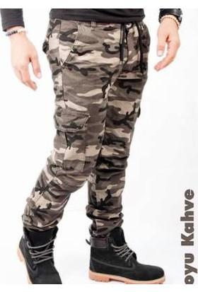 Oksit Askeri Kamuflaj Pantalon Sütlü Kahve