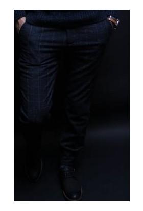 Oksit R.Slim Fit Damalı Nopeli Pantalon Lacivert