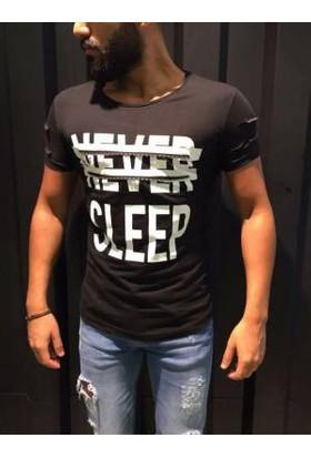 Oksit Slimfit Never Sleep T Shirt Siyah
