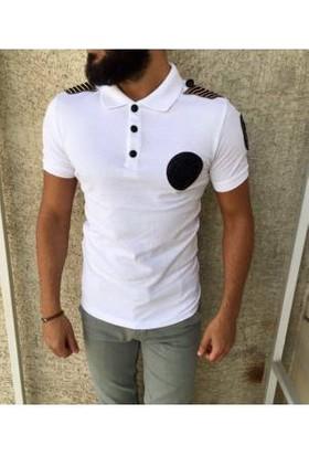 Oksit Polo Yaka Apoletli Tshirt Beyaz