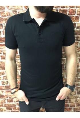 Oksit Yakalı Düz T Shirt Siyah