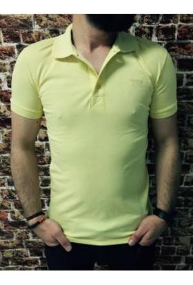 Oksit Yakalı Düz T Shirt Sarı
