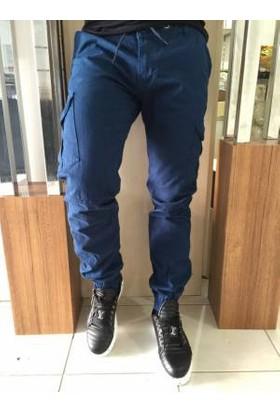 Oksit Yan Cepli Dar Pacalı Kargo Pantalon Düz Mavi