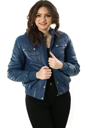 Deriza Lily Mavi Kadın Deri Ceket 39-2922