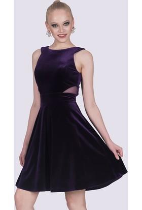 İroni Kadife Halter Yaka Şifon Detaylı Mor Mini Elbise