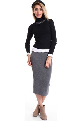 BSL Fashion Antrasit Etek 9039