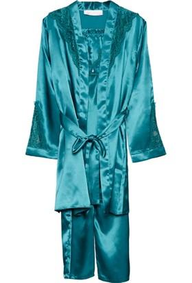 Versace 19.69 Abb. Spor. Srl - Dantelli Saten Alt ve Üst Pijama-Sabahlık 3'lü Takım