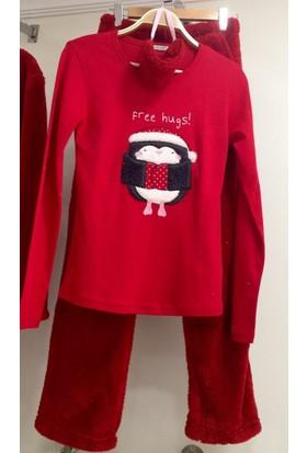 Sendy Kırmızı Penguen Bayan Peluş Polar Pijama Takımı