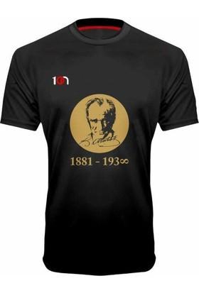 10N Muhteşem Atatürk 1881-1938 Baskılı Siyah T-Shirt