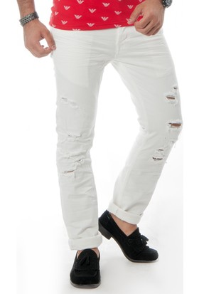 Deepsea Beyaz Yırtık Yıpratma Erkek Kot Pantolon 1502485-001