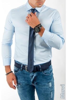 Deepsea Beyaz Gizli Düğmeli Pamuk Saten Uzun Kollu Erkek Gömlek 1600104