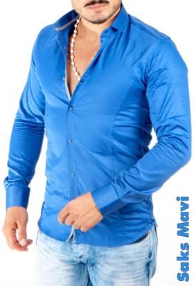 Deepsea Saks Mavi Çıtçıtlı Pamuk Saten Uzun Kollu Erkek Gömlek 1501563-025