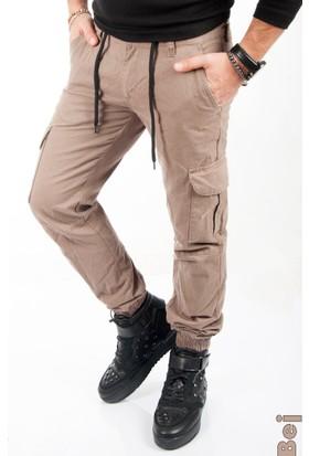 Deepsea Bej Paçası Ve Beli Lastikli Bağcıklı Erkek Kargo Pantolon 1601569-021