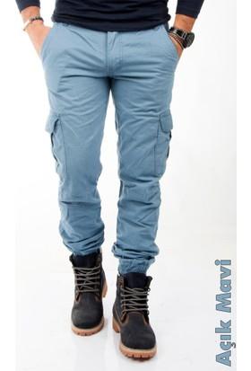 Deepsea Açık Mavi Paçası Ve Beli Lastikli Bağcıklı Erkek Kargo Pantolon 1601569-024
