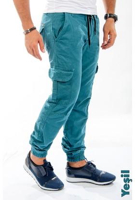 Deepsea Yeşil Paçası Ve Beli Lastikli Bağcıklı Erkek Kargo Pantolon 1601569-009