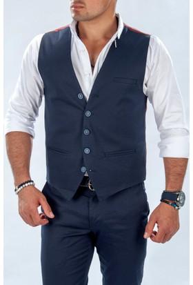 Deepsea Koyu Lacivert Slim Fit Önü Küçük Cepli Desenli Erkek Cepken 1603002-085