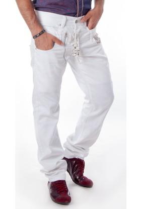 Deepsea Beyaz Cep Taşlı Deri Bağcıklı Erkek Kot Pantolon 1511532-001