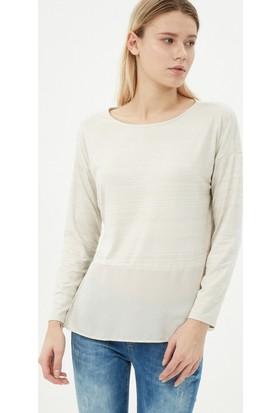 Koton Kadın Yırtmaç Detaylı T-Shirt Bej