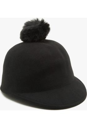Koton Kids Kız Çocuk Ponpon Detaylı Şapka Siyah