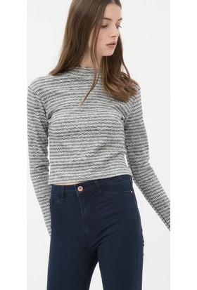 Koton Kadın Çizgili T-Shirt Gri