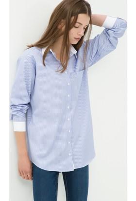 Koton Kadın Çizgili Tunik Mavi
