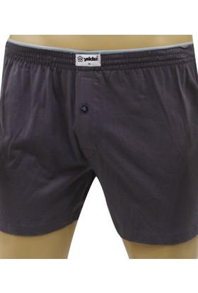 Elif Çamaşır Yıldız %100 Pamuk Düğmeli Erkek Boxer Koyu Füme