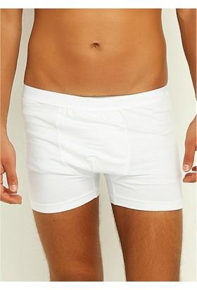 Elif Çamaşır Yıldız 6'Lı Paket Likralı Modal Erkek Boxer Beyaz