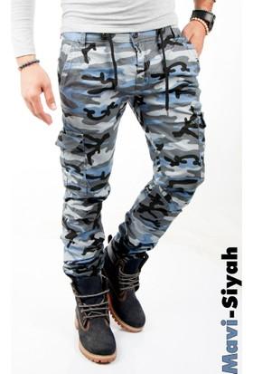 Deepsea Mavi-Siyah Paçası ve Beli Lastikli Kargo Erkek Kamuflaj Pantolon 1601569-160
