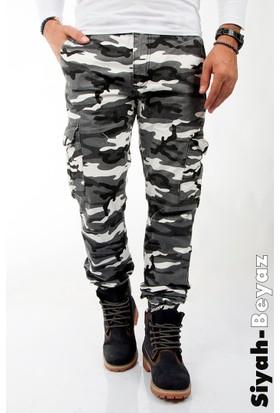 Deepsea Siyah-Beyaz Paçası ve Beli Lastikli Kargo Erkek Kamuflaj Pantolon 1601569-027